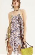 Free People Tunic Dress Halter Mixed Print Can't Tie Me Down Uneven Hem M New