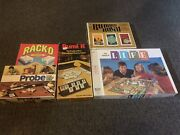 Lot Of 5 Vintage Boardgames The Game Of Life, Rumi K, Probe, Rummy Royal, Rack-o