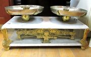Beautiful Large Brass And Marble Scale Arciello H Argentina With Lots Of Stamps