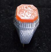 Dated 1813 Antique Persian Arabic Islamic Agate Stone Ring Stamp Fine Carvings