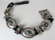 Vintage Sterling Silver Navaho Concho Belt With Turquoise Monumental In Size