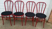 Vintage Metal Bentwood Style Bistro Cafe Thonet Ice Cream Parlor Chairs Set Of 4