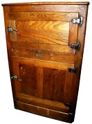 Antique Mission Style Ice Palace Two-door Wood Farmhouse Ice Box