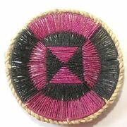 Basket Wall Décor Woven Round Tray Coiled Handmade Straw Bohemian Fruit Display