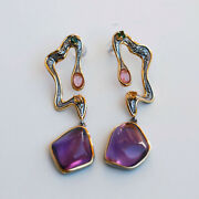 Retro Style Natural Amethyst And Tourmaline S925 Sterling Silver Earrins As49