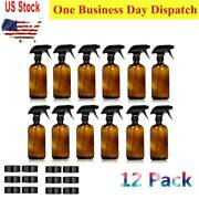 12 Pack 16oz Brown Empty Amber Glass Spray Bottle Sprayer W/ Trigger And Cap