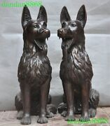 Chinese Fengshui Bronze Lucky Zodiac Animal Guardian Dog Dogs Wolfhound Statue