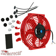 10 Inch Red 12v Electric Radiator Cooling Slim Fan Universal Mount Kit Push Pull