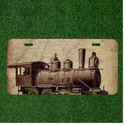 Custom Personalized License Plate Auto Tag With Old School Train Design