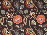 Cowtan And Tout Jacobean Embroidered Linen Fabric 10 Yards Persimmons Multi