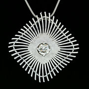 Vintage Handmade 18k White Gold 0.94ct Large Open Wire Cushion Pendant Necklace