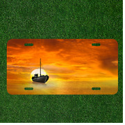 Creative License Plate Auto Tag With Sailboat On Orange Ocean Add Names