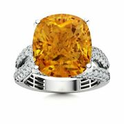 Certified 5.69 Carat Natural Aaa Citrine And Si Diamond Solid 14k White Gold Ring