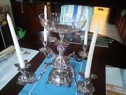 Vintage Reed And Barton Epergne Candelabra Silver Plated With Center Crystal Bowl
