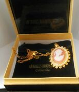 Antiques Roadshow Collectibles Gold-tone Cameo/faux Pearl Necklace/brooch