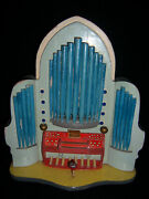 Gorgeous German Steinbach Painted Carved Wood Pipe Organ Thorens Disc Music Box