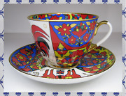 Lomonosov Porcelain Cup And Saucer Folk Patterns / Rooster Gold Rus Ifz Imperial