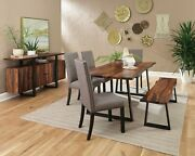 Rustic Solid Wood Dining Table Bench And Grey Linen Like Chairs Furniture Set