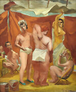 Painting Mid Century Oil On Canvascubist Theater-circus Performers D Van Loan