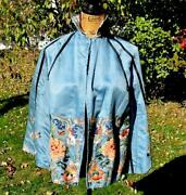 Amazing Antique Chinese Blue Silk Embroidered Skirt Into Cape Forbidden Stitch