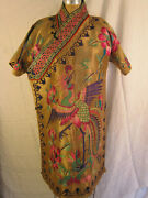 Exquisite Tibetan Robe With Gold And Magenta Flowers