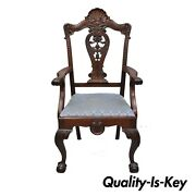 Antique Mahogany Georgian Chippendale Style Shell Carved Ball And Claw Arm Chair