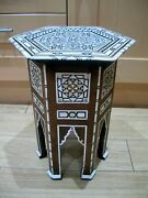 Superb Antique Hexagonal Syrian Wooden Inlaid Table