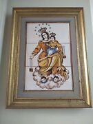 Vintage 17x21- Tile Painting- Madrid Spain Home Decor Collectible