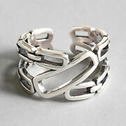 Vintage Solid 925 Sterling Silver Retro Double Layer Chain Wide Rings For Women