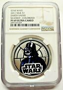 2011 Silver Plated Star Wars Classic Darth Vader Niue 1 Coin Ngc Pf69uc