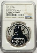 2011 Silver Plated Star Wars Classic Darth Vader Niue 1 Coin Ngc Pf68uc