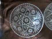 Vintage Eapc Anchor Hocking Pair 2 Clear Large Bowls Star Of David Saw Tooth
