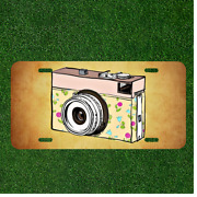 Custom Personalized License Plate Auto Tag With Cool Old School Camera Design