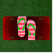 Custom Personalized License Plate Auto Tag With Pink And Green Beach Sandels