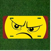 Custom Personalized License Plate Auto Tag With Angry Face Emoji Design