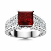 Genuine Princess Cut Red Garnet And Diamond Engagement Ring Solid 14k White Gold