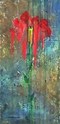 Flowers Signed Painting Roses Storm Drain 30x15 Gallery Wrap By Steven Graff