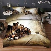 Brown Train Track 3d Printing Duvet Quilt Doona Covers Pillow Case Bedding Sets