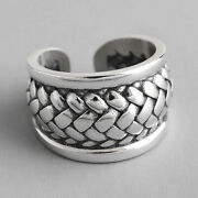 Vintage Punk Rock Braided Wide Rings For Women Solid 925 Sterling Silver Jewelry