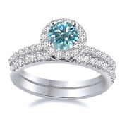 2.5 Ct Light Blue Moissanite 2 Piece Halo Engagement Bridal Ring Sterling Silver