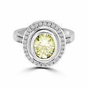 2.60 Ct Round Brilliant Moissanite Oval Sterling Halo Engagement Ring