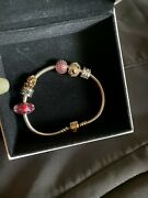 Silver Pandora Moments Snake Chain Bracelet W/ 14ct Gold Clasp And Charms 7.5