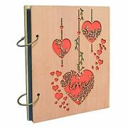 4x6 Love Photo Album Heart Wooden Picture Albums Book With 120 Pockets 4x6