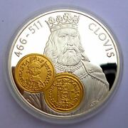 Netherlands Antilles 10 Gulden 2001 Silver Proof With Gold Trade Coin Tremissis