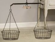 S/2 Hanging Scale W/ Guage And Two Wire Baskets Farmhouse Scale Set Of 2