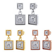 1.38 Ct Natural Square Diamond Vintage Drop Earrings 18k Solid Gold