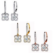 1.46 Ct Natural Diamond Blossom Floral Dangle Earrings 18k Solid Gold