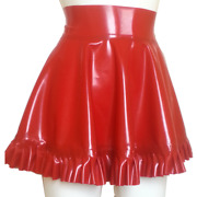 Latex Rubber Skirt With Frills Unisex Tv Fetish Red Xs S M L Xl Xxl