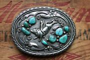 Vtg J. Toadlena Sterling Silver Bull Riding Rodeo Turquoise Cowboy Belt Buckle