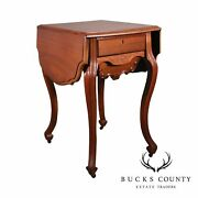 Antique Victorian Walnut Dropleaf Sewing Stand Side Table